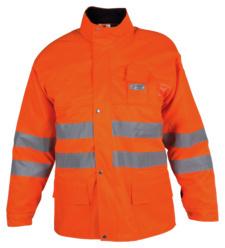 Funktionelle Schnittschutzjacke EN 381, bequeme Warnschutzjacke EN 20471, Schnittschutz-Warnschutzjacke orange