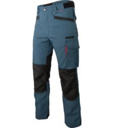 Pantalon de travail durable et élégant, de couleur bleue, en toile élastique, avec renforts en Cordura, EN 14404.