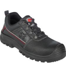 Zwarte werkschoen S3, van ademend volnerfleer, stalen capuchon, technische inserts, comfortabele pasvorm, antislip.