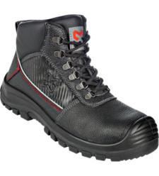 Stevige zwarte S3 werklaars, van ademend leer, antislip, modern ontwerp, stalen neus, comfortabele pasvorm.