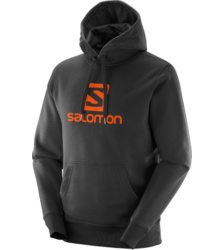 Foto von Salomon Logo Kapuzenpulli black vivid orange