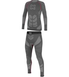 Comfortabele grijze onderkleding, zonder naden, antibacterieel, functionele onderkleding, lange mouwen.