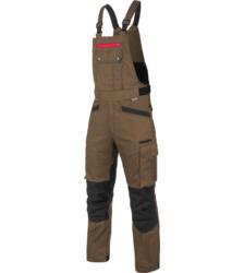 Strapazierfähige Arbeitslatzhose, Farbe braun, EN 14404 mit Knieverstärungen aus Cordura, aus Baumwoll-Mischgewebe