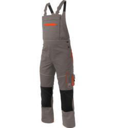Modische & strapazierfähige Arbeitslatzhose, Farbe Grau, aus Polyester-Baumwollegewebe, EN 14404 mit Cordura Knieverstärkung, für Fließenleger