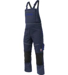 Marineblaue Arbeitslatzhose aus Mischgewebe, robust und modern, EN 14404 zertifiziert, für Handwerker