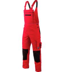 Stylische Arbeitslatzhose in rot, robustes und elastisches Material, Cordura Verstärkungen EN 14404, Latzhose für Handwerker