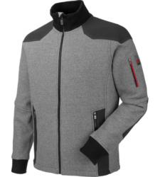 Grijs fleecevest voor het werk, stevig en warm, ademend en comfortabel, moderne gebreide look, polsbanden en kraag van tricot.