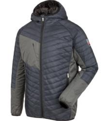 Moderne Stepjacke mit wattierter Kapuze, Farbe blau, winddicht, Wetterjacke mit Softshell-Einsätzen, aus recyceltem Polyester