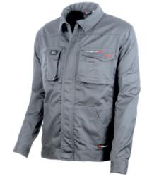Arbeitsjacke Grau für Profis, robust & strapazierfähig, elastisches Material, verdeckte Knöpfe, Dreifachnähte