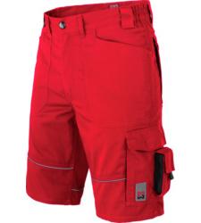 Bermuda de travail rouge pour les revendeurs et les logisticiens, look sportif, matériau robuste, ceinture élastique pour plus de confort.
