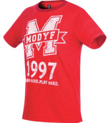 Foto von Kinder Arbeits T-Shirt Logo rot