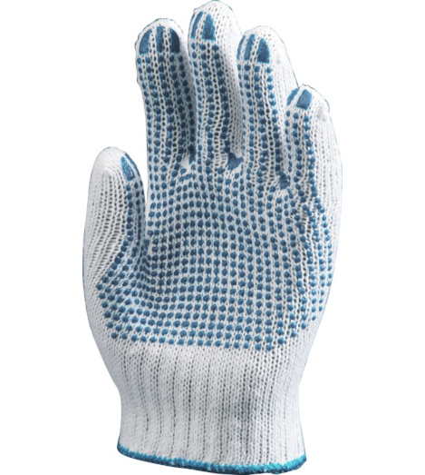 Photo de 12 paires de gants de protection coton/poly a picots