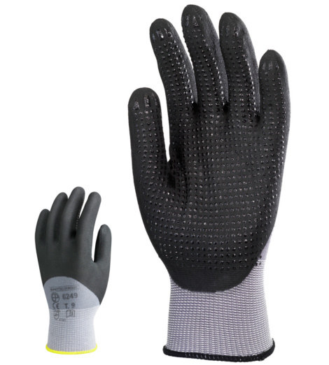 Photo de 10 paires gants de protection nylon/spandex enduits nitrile avec picots