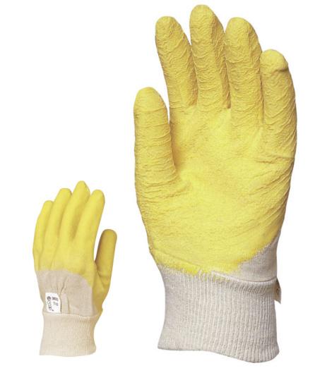Photo de 12 paires de gants de protection coton enduits latex crepe t10