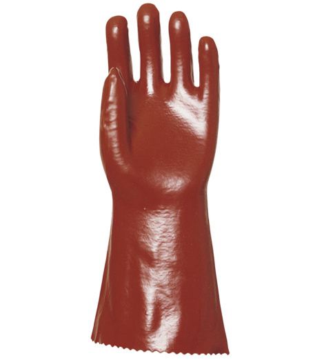 Photo de Gants protection chimiques PVC supérieur rouges (la paire)