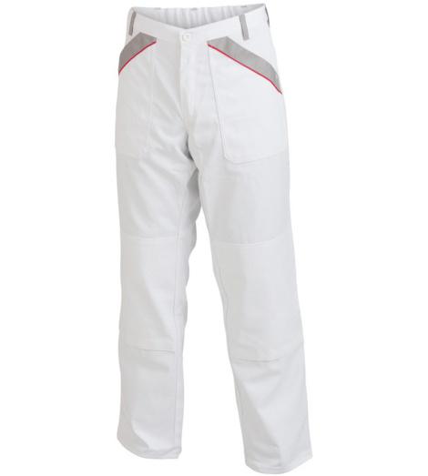 Bequeme Arbeitshose weiß für Maler, Sicherheit durch EN 14404, mit Knietaschen, Mischgewebe, strapazierfähig und günstig