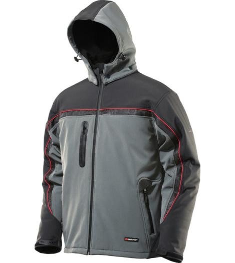 Veste Softshell grise, au design sportif, respirante, coupe-vent et déperlante, avec col et capuche amovible, doublure polaire.