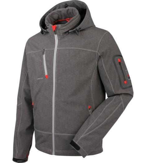 Blouson softshell gris pour les professionnels, caractéristiques pratiques et techniques, légèrement imperméable, respirant, capuche amovible, fonctionnel.