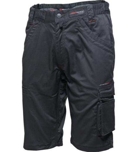 Graue Arbeitsbermuda, elastischer Bund, atmungsaktiv, farbbeständig, mit praktischen Taschen