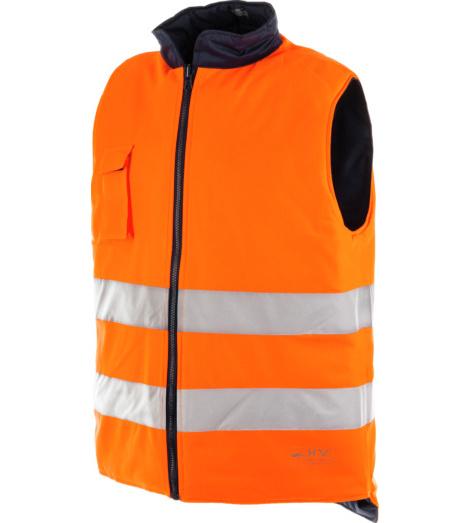 Warnschutzweste für den Winter in Neon Orange