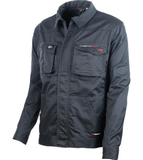Arbeitsjacke anthrazit für Handwerker, widerstandsfähig & elastisch, mit Bewegungsfreiheit, pflegeleicht und farbbeständig, ID Kartenhalter