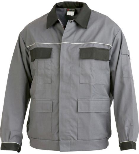 Arbeitsjacke grau für Metallbau, günstiger Preis, aus Baumwolle und Polyester, Blousonform