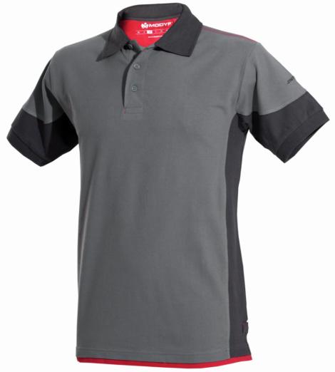 Poloshirt grau für Handwerker, elastisches Stretchmaterial, Bewegungsfreiheit, gerippte Ärmelbündchen