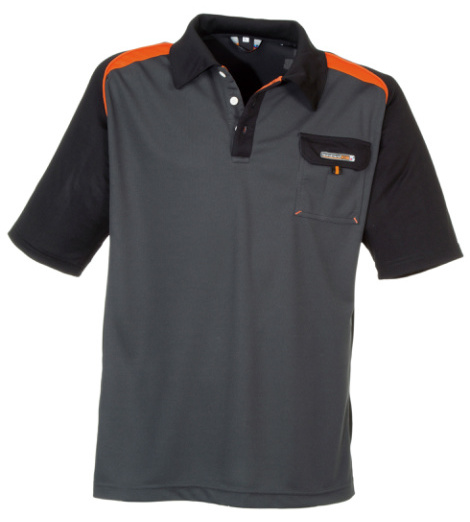 Foto von Poloshirt Work dunkelgrau orange