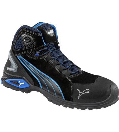 Chaussures de sécurité Puma Rio montantes, tendances et confortables, design moderne, norme S3 SRC, bleues