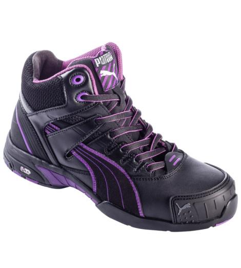 Chaussures de sécurité montantes pour femmes de marque Puma Safety shoes, noires et violettes, assise du pied, confort de marche