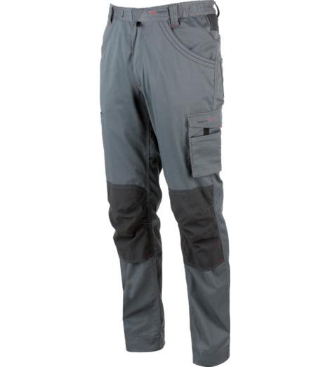 Arbeitshose in Grau für Profis, elastisch & bequem, aus Stretchmaterial, moderner Look, mit praktischen Taschen, Dreifachnähte, verdeckte Kknöpfe