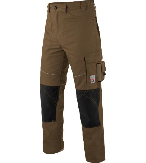 Olijfgroene werkbroek voor ambachtslieden, olijfgroene kleur, comfortabel en elastisch, beschikbaar in 6 andere kleuren, met praktische zakken.