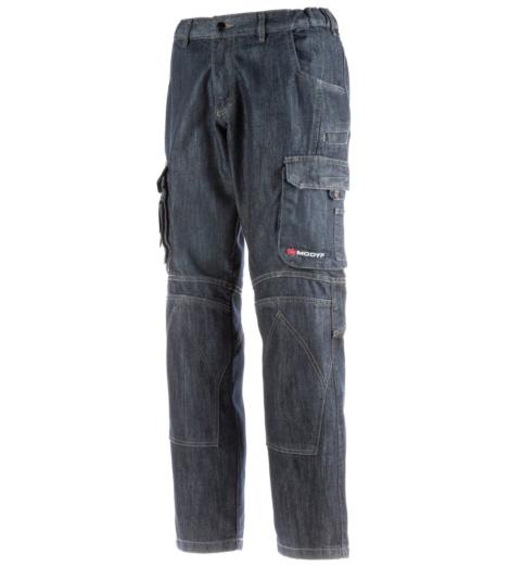 Arbeitshose Cargo in Denim, sportlicher und lässiger Look, mit praktischen Taschen, aus Mischgewebe, robust, mit Verstärkungen im Kniebereich, für Arbeit und Freizeit