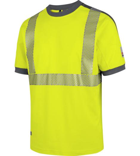 Foto von Warnschutz Arbeits T-Shirt Neon EN 20471 2 gelb anthrazit