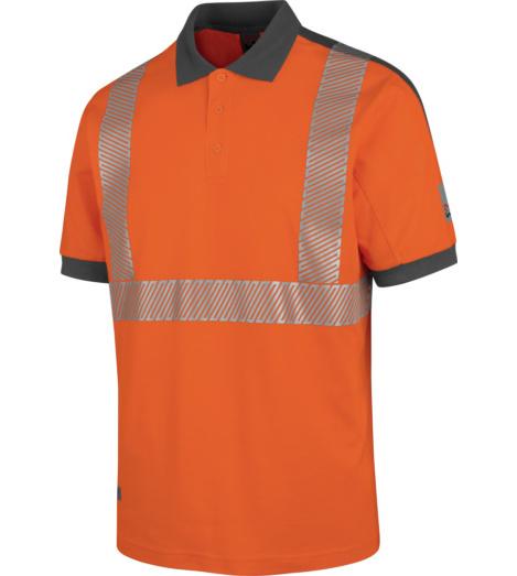 Foto von Warnschutz Poloshirt Neon EN 20471 2 orange anthrazit