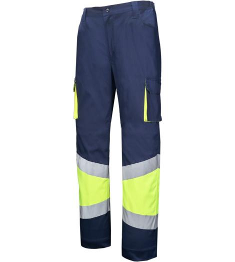 Foto de Pantalón de trabajo de alta visibilidad stretch marino/amarillo
