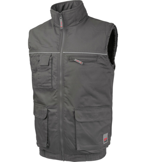 Grijs werkgilet van gemengde stof voor ambachtslieden en technici, onderhoudsvriendelijk en comfortabel, warme vulling.