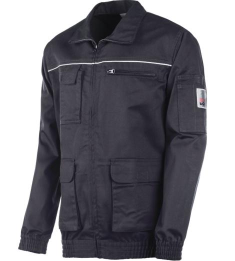 Veste à ceinture bleue pour  mécanicien, matière légère et élastique, avec poches fonctionnelles.