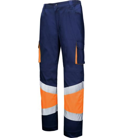 Foto de Pantalón de trabajo de alta visibilidad stretch marino/naranja