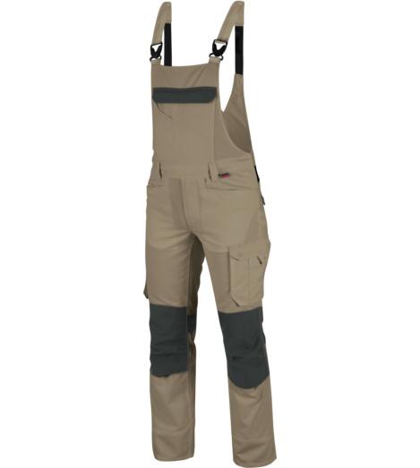 Latzhose für Handwerker, Latzhose ISO 15797, Latzhose mit praktischen Taschen, Latzhose beige, bequeme Latzhose