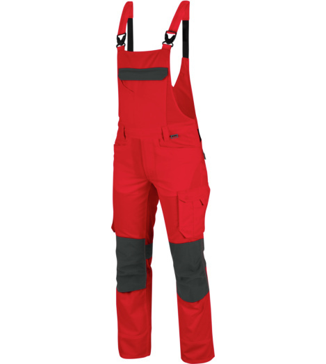 Hochwertige Latzhose, Latzhose Rot, Latzhose für Elektriker, Latzhose für Transport, Latzhose für Logistik , Latzhose für professionelle Industriewäsche und Trocknung geeignet