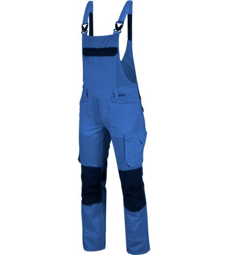 Industriewäschetaugliche Arbeits-Latzhose, bequeme Arbeits-Latzhose, Latzhose  mit Knietaschen EN 14404, Latzhose für industrielle Reinigung & Trocknung geeignet, Latzhose royalblau