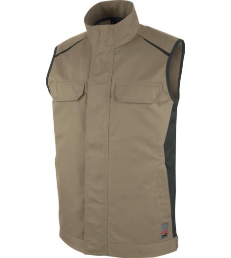 Metallfreie Weste, Weste für Handwerker, Weste ISO 15797, Weste mit funktionellen Taschen, Weste beige