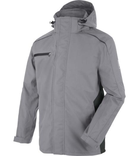 Praktische Arbeitsjacke, Arbeitsjacke für schlechtes Wetter, Arbeitsjacke mit Details, Wetterjacke für Handwerker, Arbeitsjacke grau, Wetterjacke atmungsaktiv