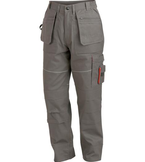 Robuste und elastische Arbeitshose in Grau, top Preis-Leistungs-Verhältnis, EN 14404 zertifiziert mit Knieschutztaschen