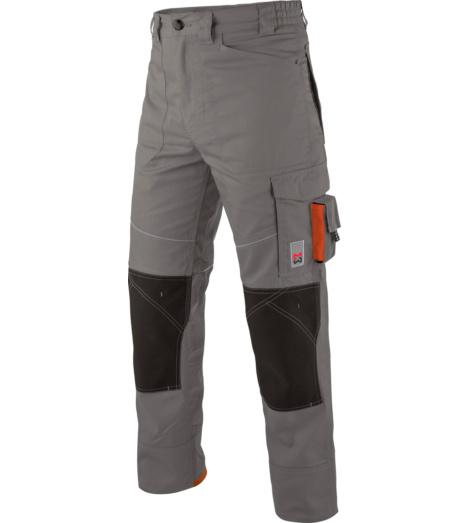 Arbeitshose für Maurer und Handwerker, Farbe grau, praktische Taschenvielfalt, mit Knietaschen anch EN 14404, moderner Look