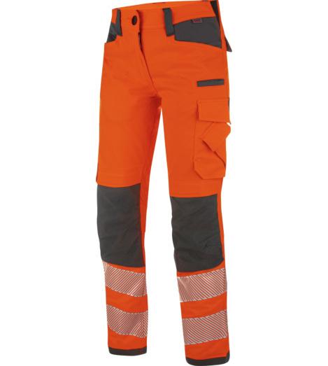 Bequeme Damen Warnschutz Bundhose, praktische Details, Strapazierfähig, Ideal für den Straßenbau