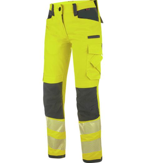 Praktische Damen Warnschutz Bundhose, bequemer Tragekomfort, 2-Wege-Stretch, strapazierfähig