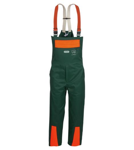 Komfortable Arbeitslatzhose für Wald- und Forstarbeiten, Schnittzschutzlatzhose mit mehreren Taschen, Schnittscutzhose mit Hosenträgern