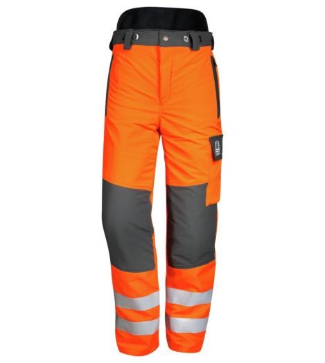 Schnittschutz-Bundhose Orange EN 381, Warnschutzhose ISO 20471 mit Schnittschutz, Schnittscutzhose mit Reflektoren